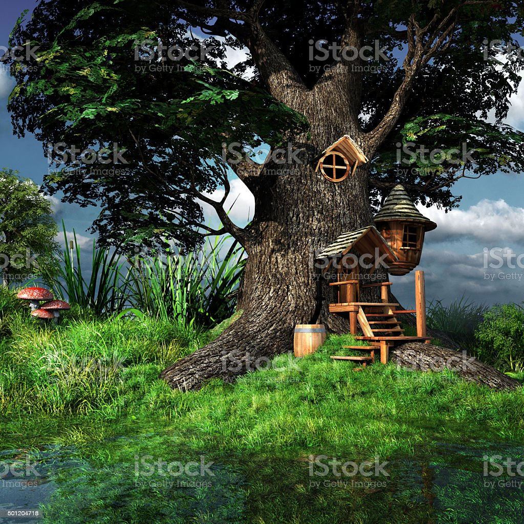 Forest gnome house stock photo