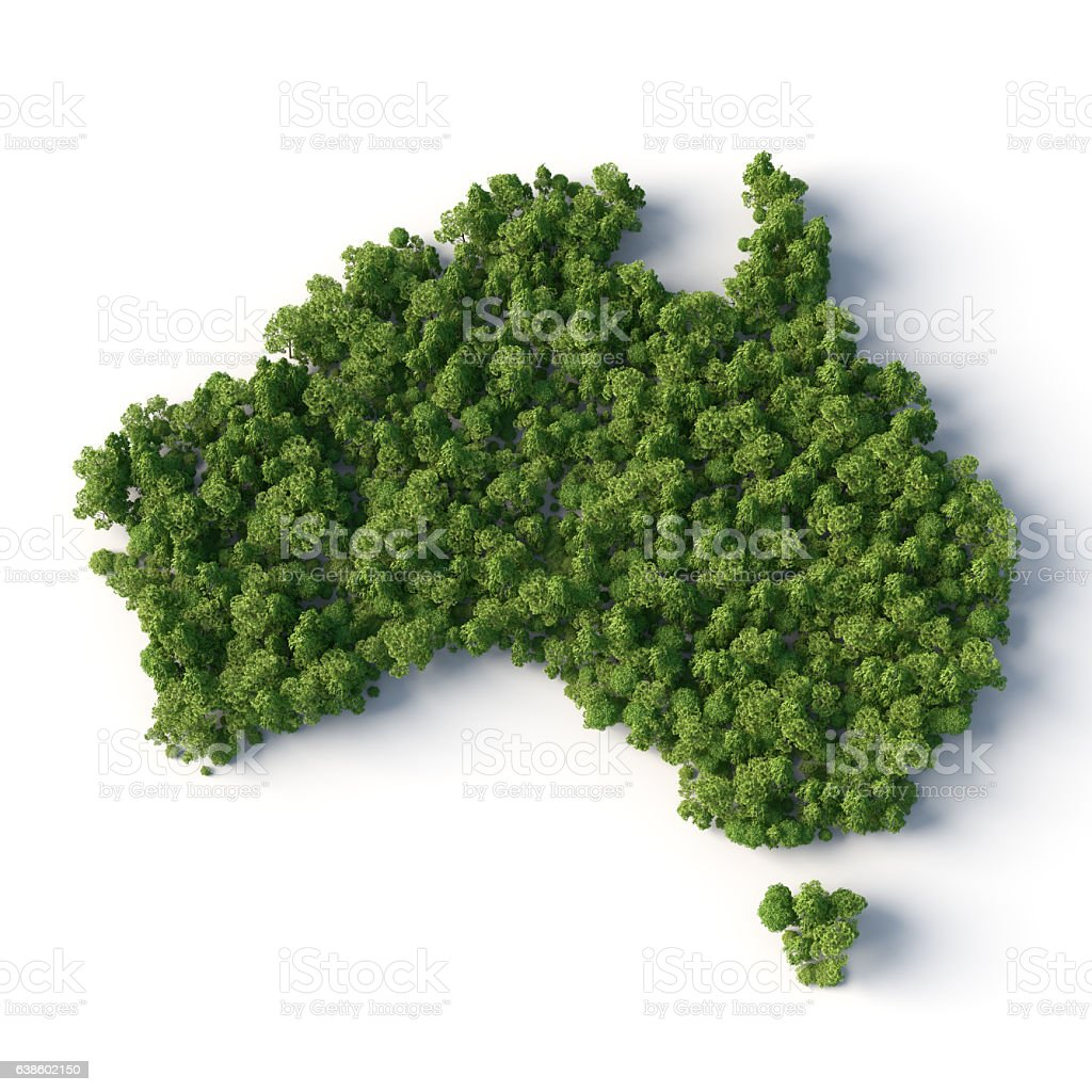 forest in australia map stock photo