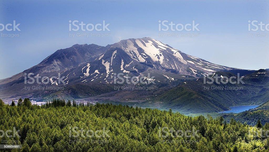 Forest Lake Mount Saint Helens National Park Washington stock photo