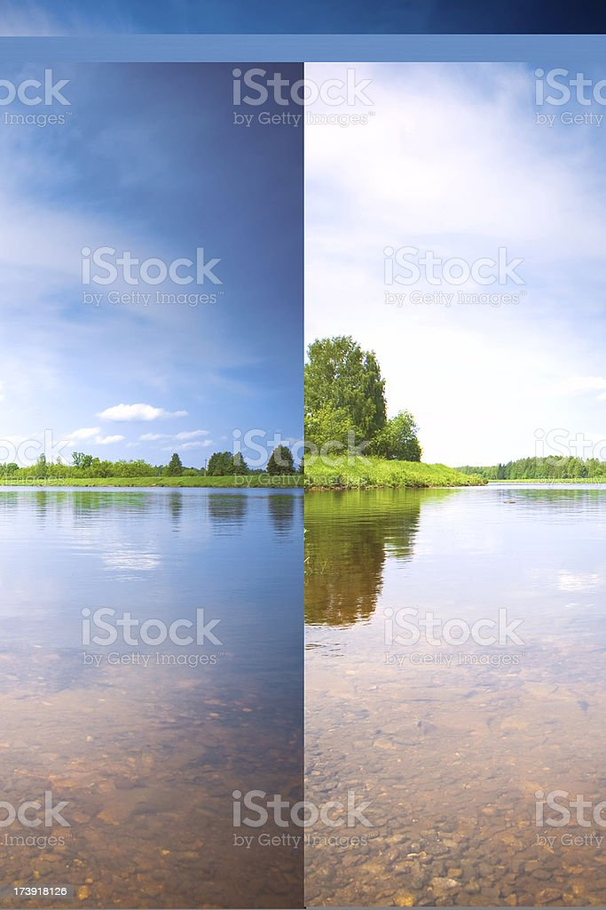 Forest lake, stones under water on foreground royalty-free stock photo