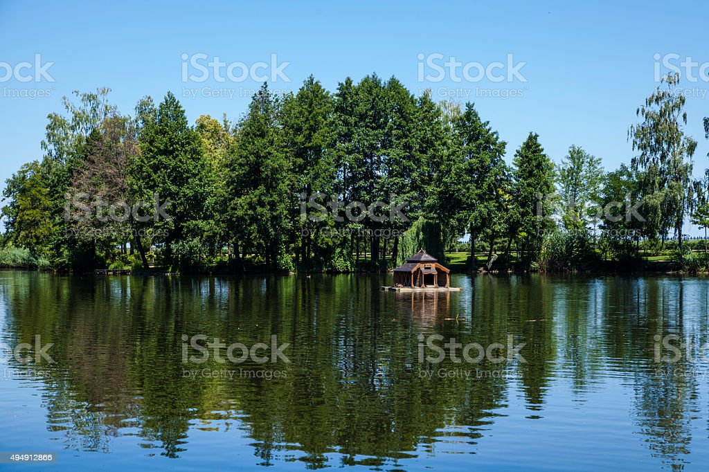 Forest lake under blue sky royalty-free stock photo