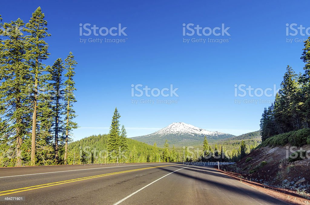 Forest, Mountain, and Highway royalty-free stock photo