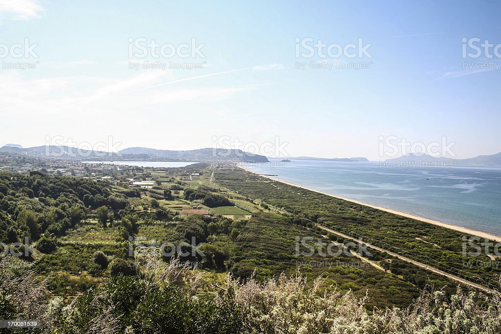 Forest of Cuma and Sea, naples, Italy royalty-free stock photo