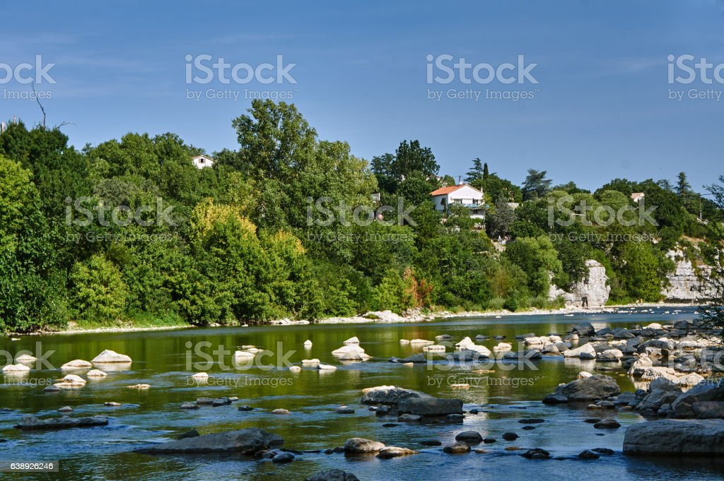 Forest over the River Ardeche stock photo