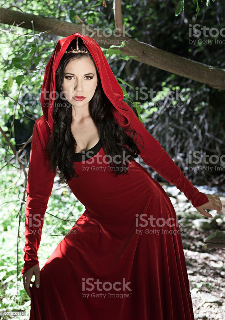 Forest Queen in a Red Dress stock photo