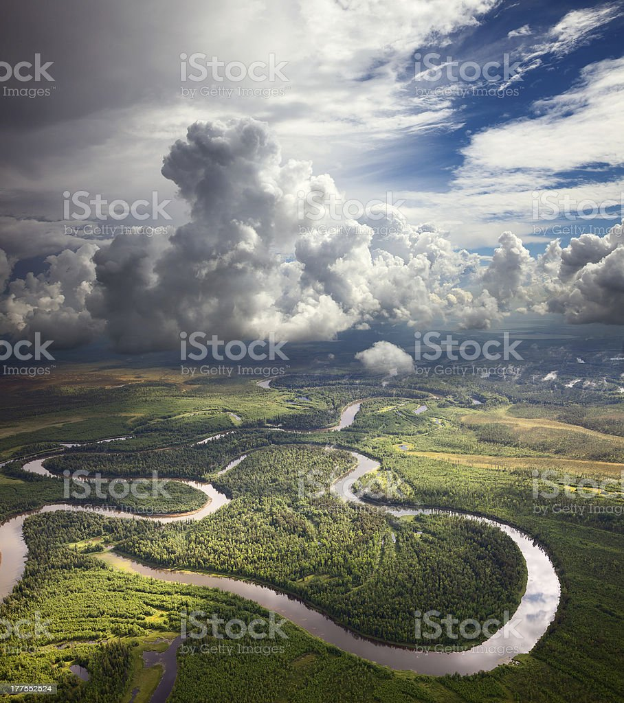 Forest river under the white clouds royalty-free stock photo