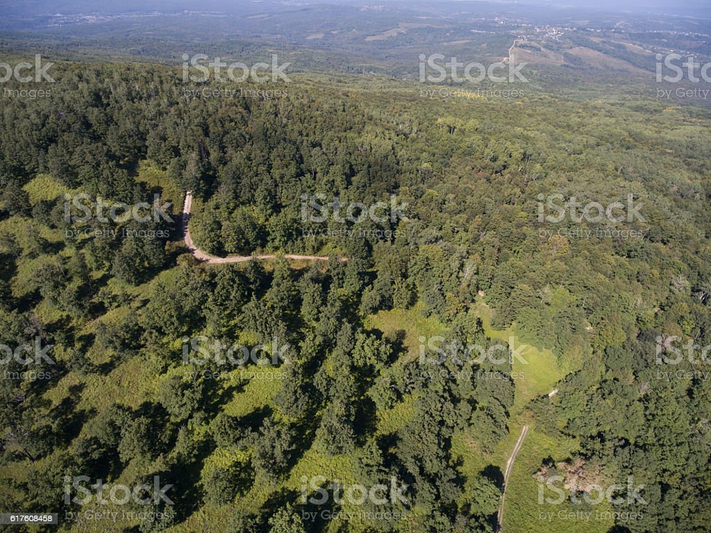 Forest road in the highlands. Aerial photos. stock photo