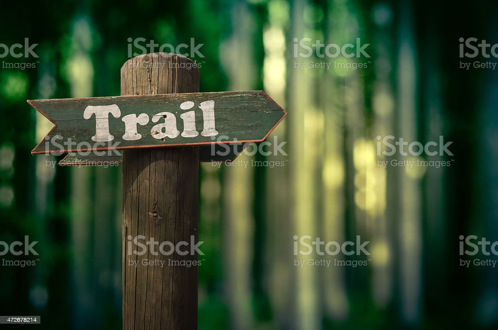 Forest Trail Sign stock photo