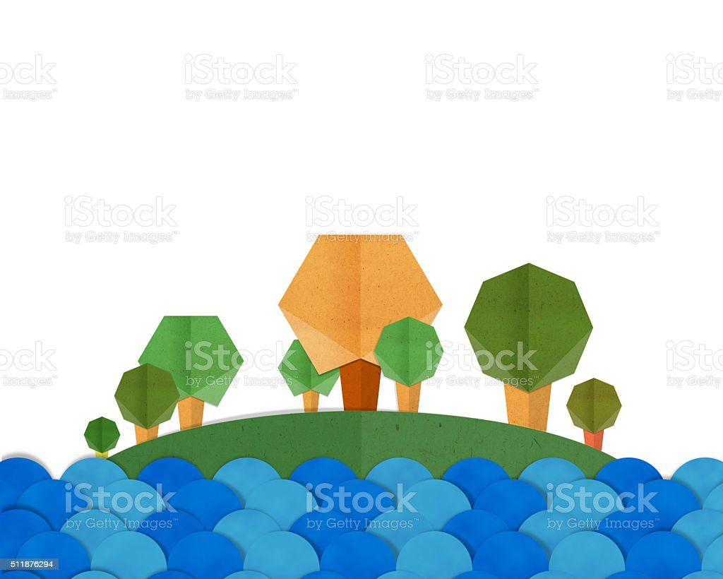 Forest Trees and Blue River Landscape Paper craft. stock photo