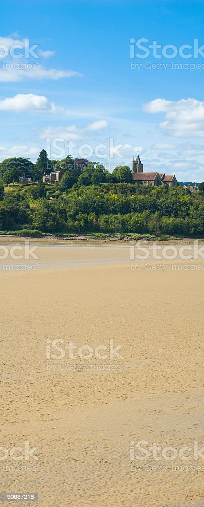 Forest village shore royalty-free stock photo