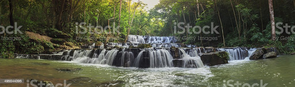 forest waterfall at National Park, Panorama royalty-free stock photo