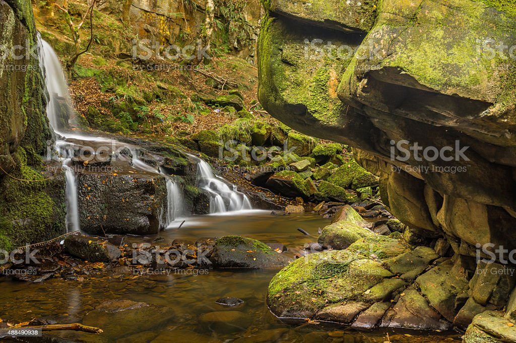 Forest Waterfall At The Start Of Autumn. stock photo