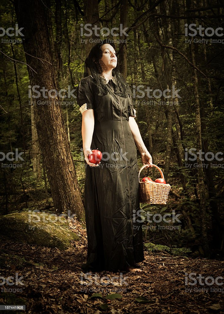 forest witch offering an poisonous apple stock photo