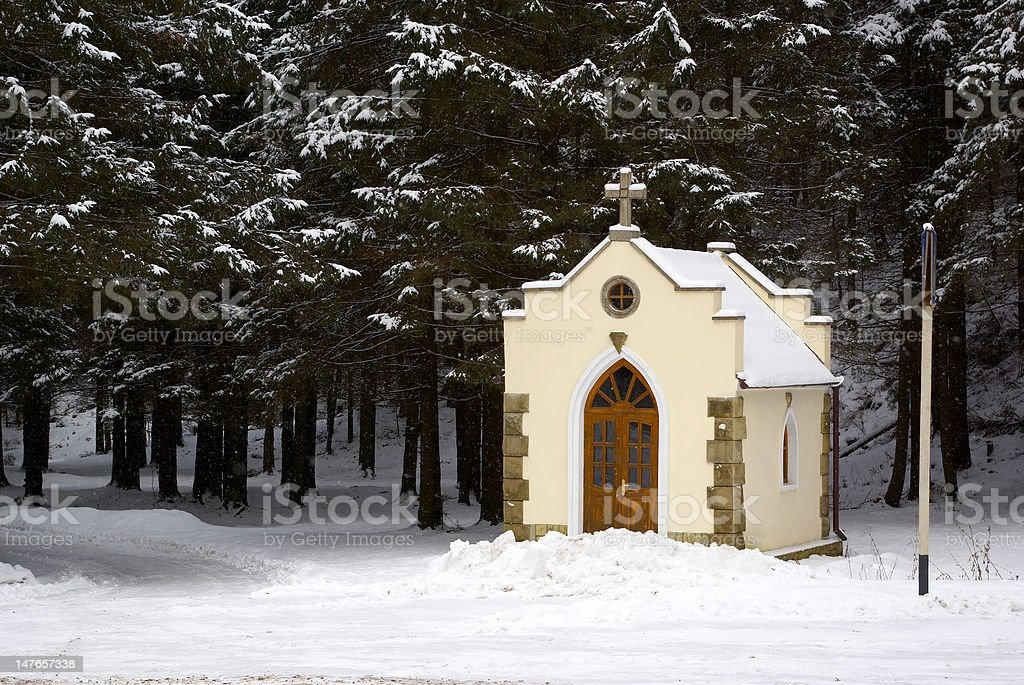 forested chapel royalty-free stock photo