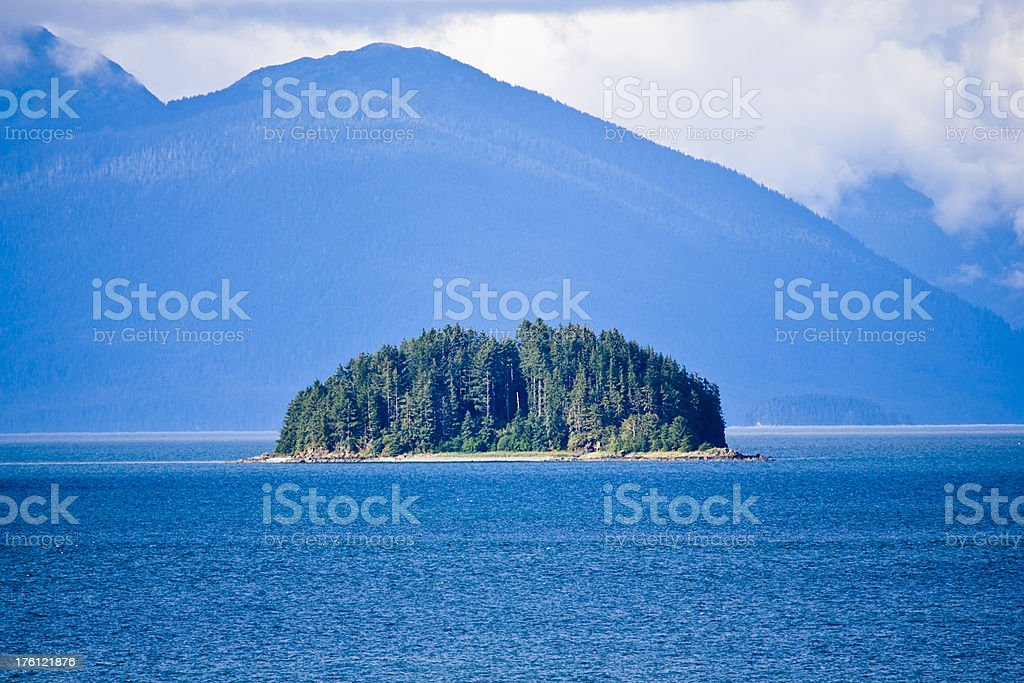 Forested Island, Inside Passage, British Columbia, Canada royalty-free stock photo