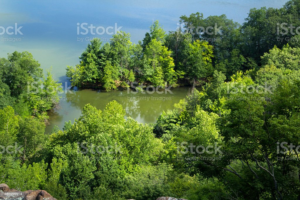 Forested shoreline, Hart Pond from ridge of Ragged Mountain, Con stock photo