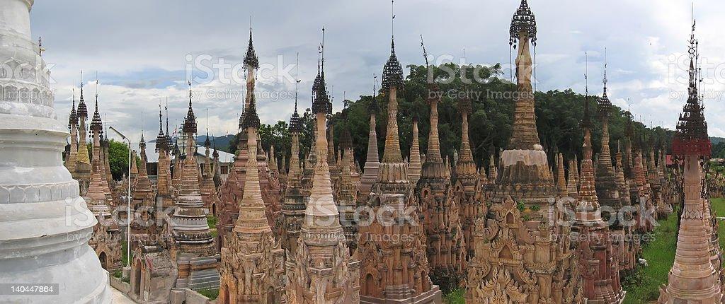 forest,of,brown,stuppa,kakku,myanmar royalty-free stock photo