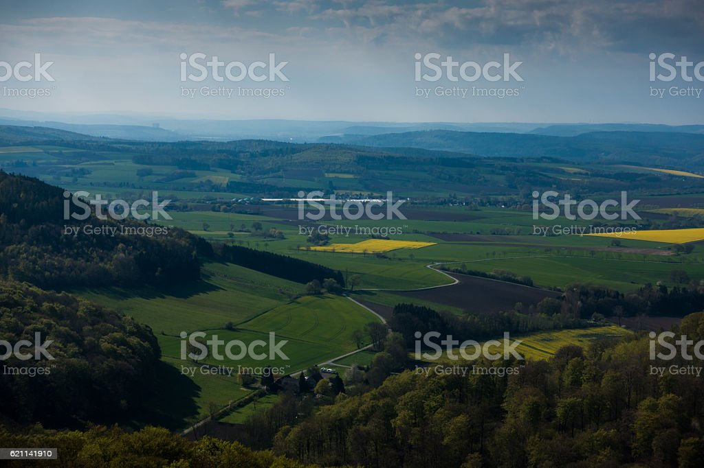forests and fields of Lower Saxony in Germany stock photo