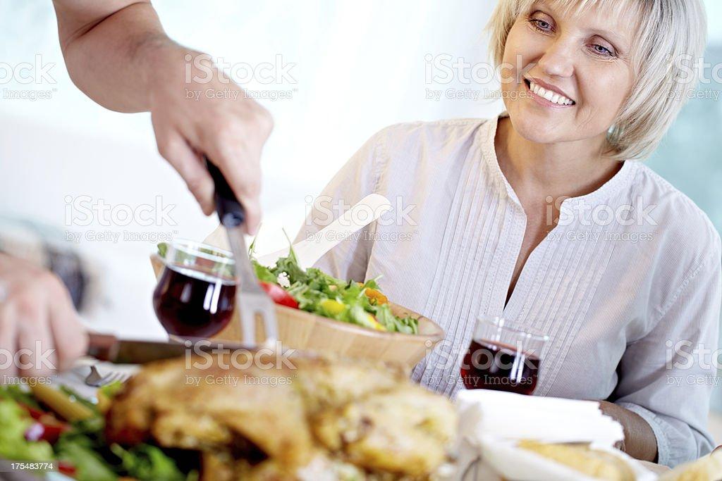 Foretasting dinner stock photo