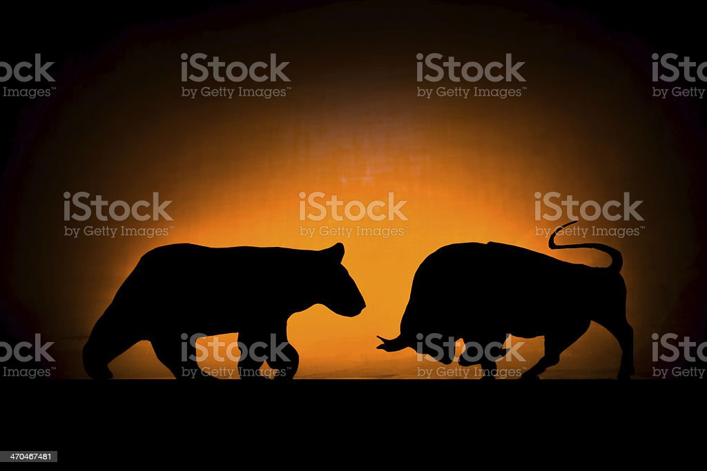 Forex: Bear and bull stock photo
