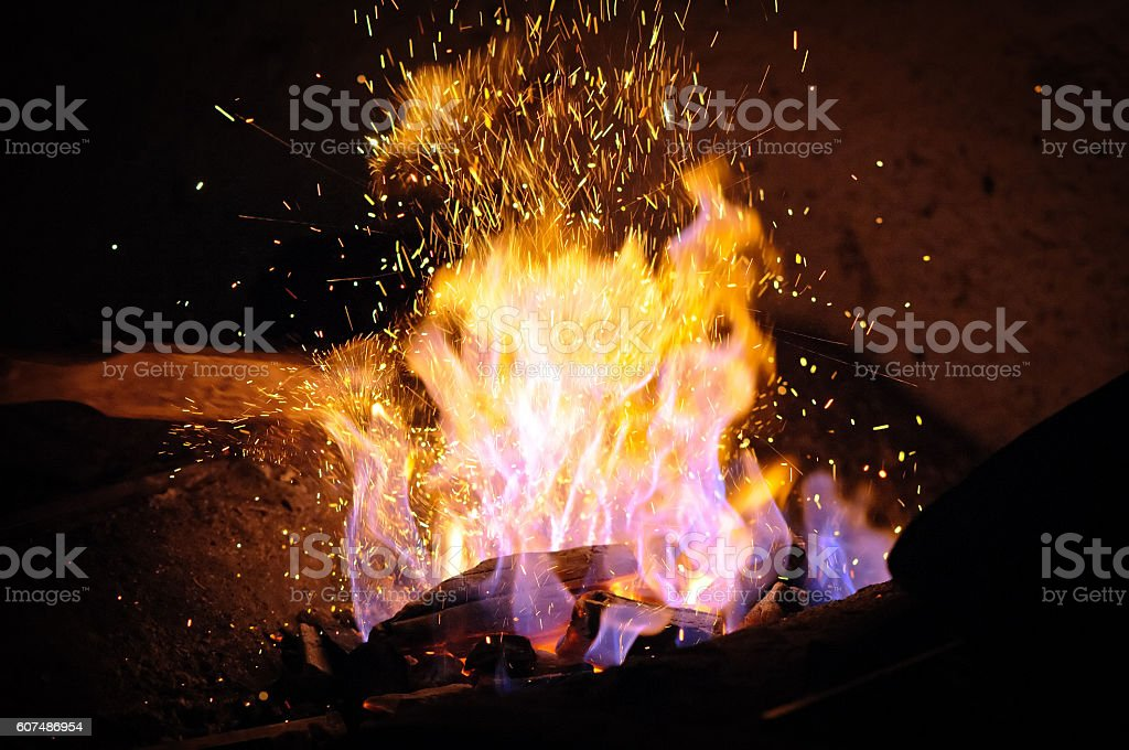Forge fire in blacksmith's stock photo