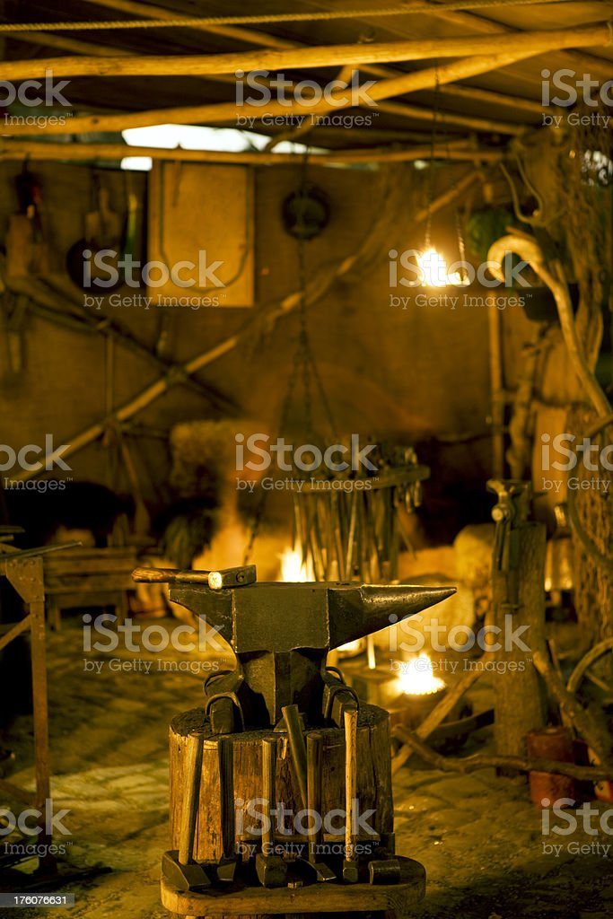 forge in the Middle Ages royalty-free stock photo