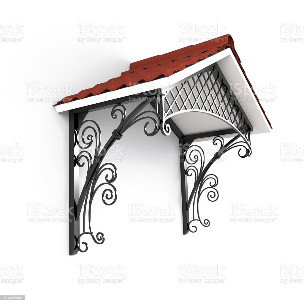 Forged canopy over the entrance stock photo