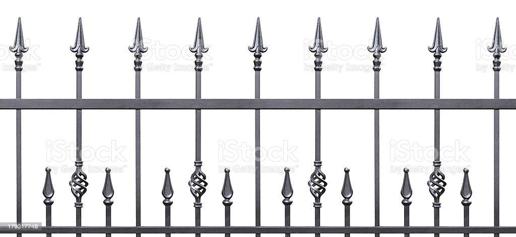 Forged decorative fence isolated horizontal panorama stock photo