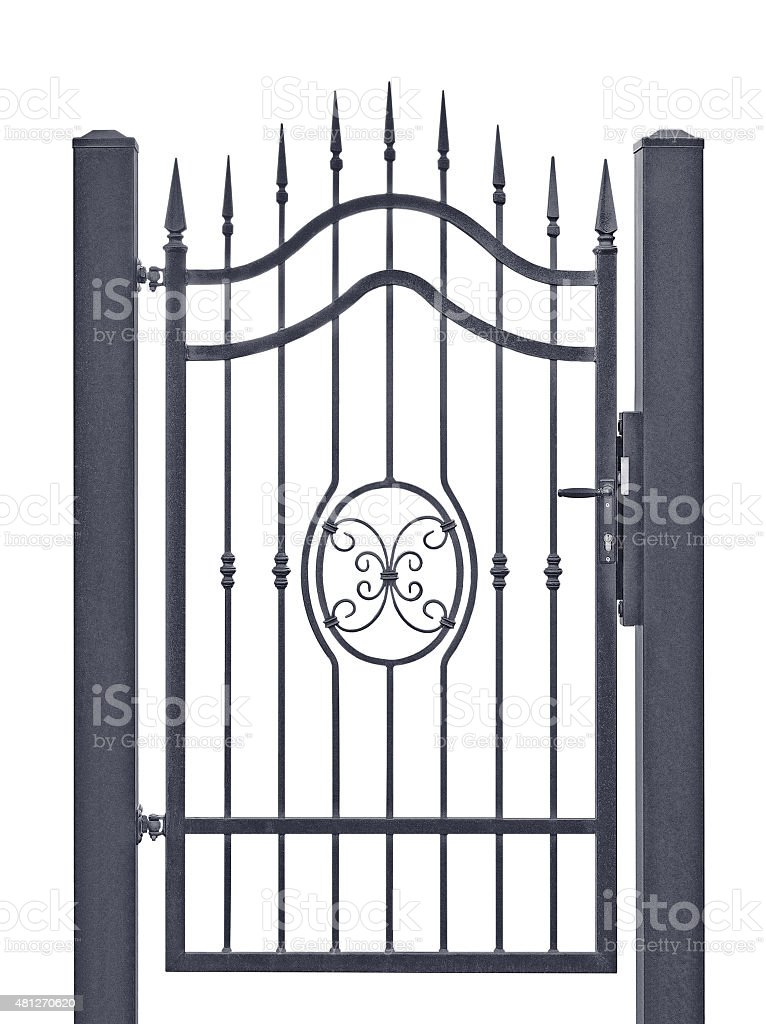 Forged decorative pedestrian gate, isolated vertical large detailed closeup detail stock photo