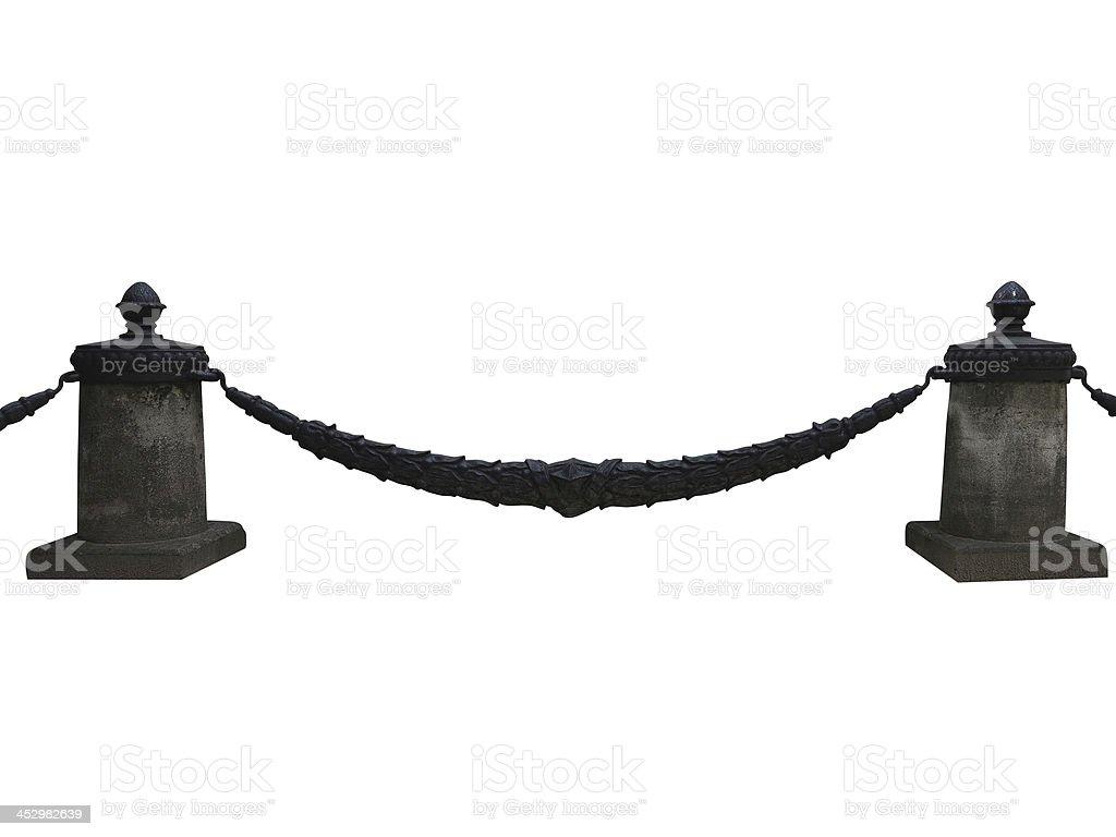 Forjadas, de aço e pedra vedação isolado a branco foto de stock royalty-free