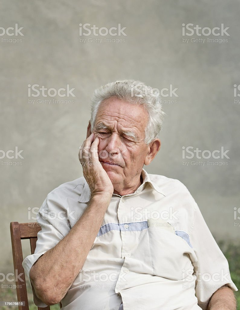 forgetful old man stock photo