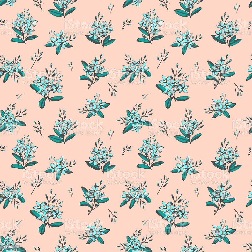 Forget-me-not blue flowers bouquets seamless hand drawn pattern stock photo