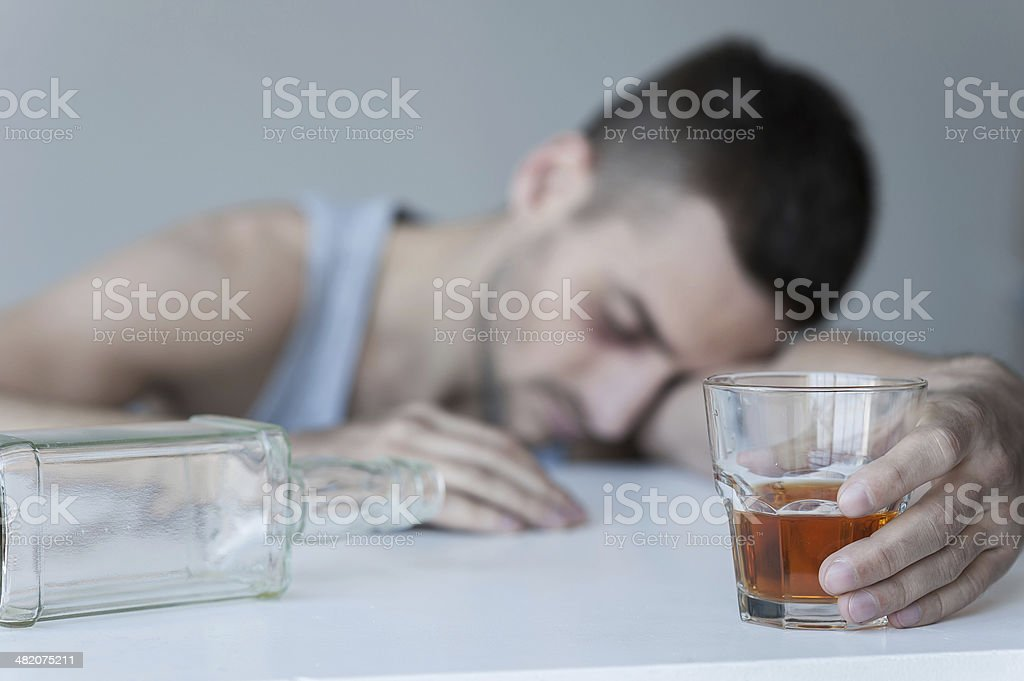 Forgetting his problems. stock photo