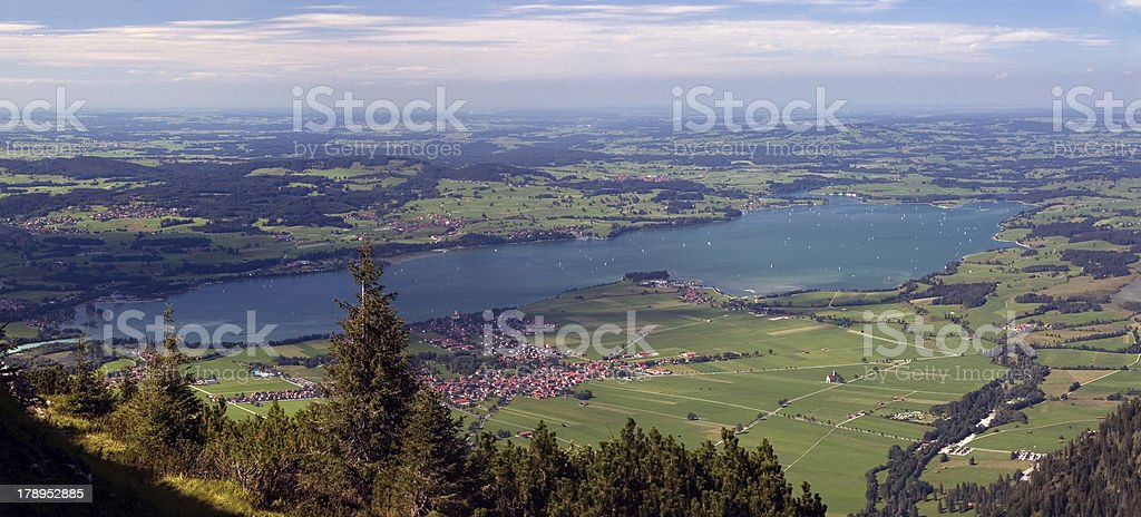 Forggensee seen from Säuling Mountain (Germany) stock photo