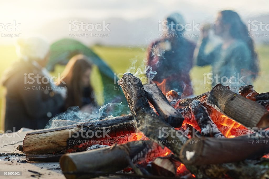Forging strong bonds by the fire stock photo