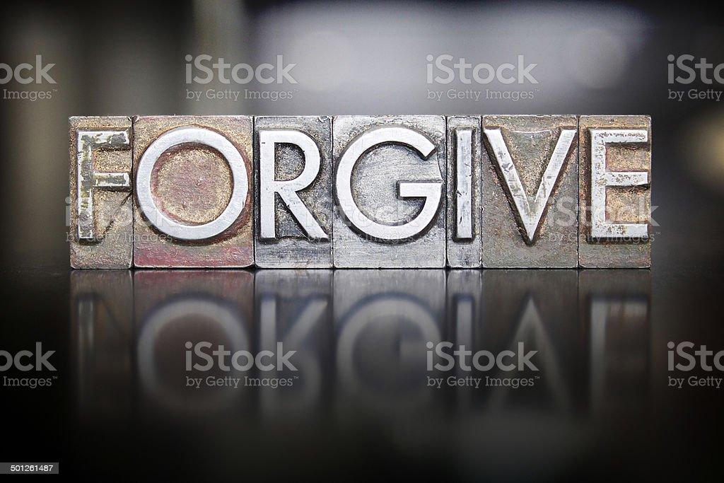 Forgive Letterpress stock photo