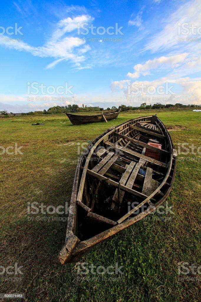 Forgotten fishing boats stock photo