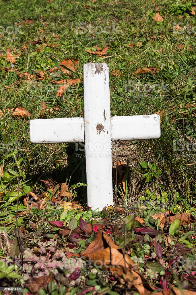 forgotten tomb with a white wooden cross stock photo