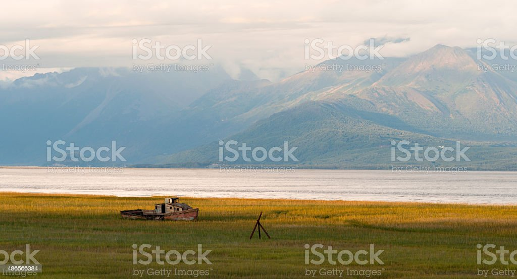 Forgotten Wooden Boat Sits Abandoned Cook Inlet Alaska stock photo