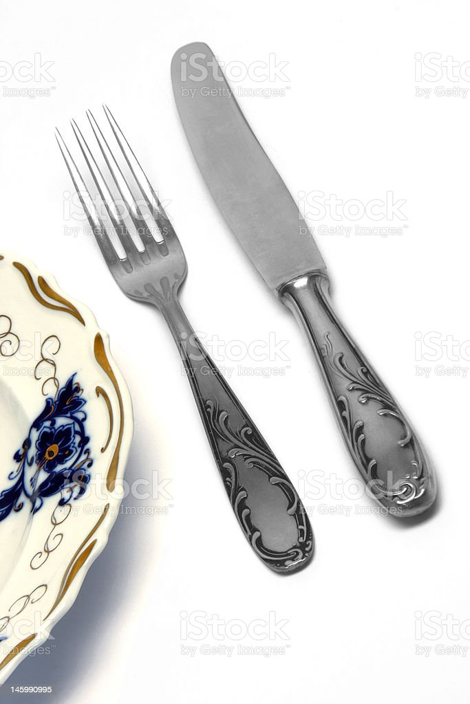 fork and knife isolated royalty-free stock photo