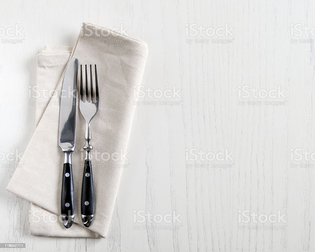 fork and knife stock photo