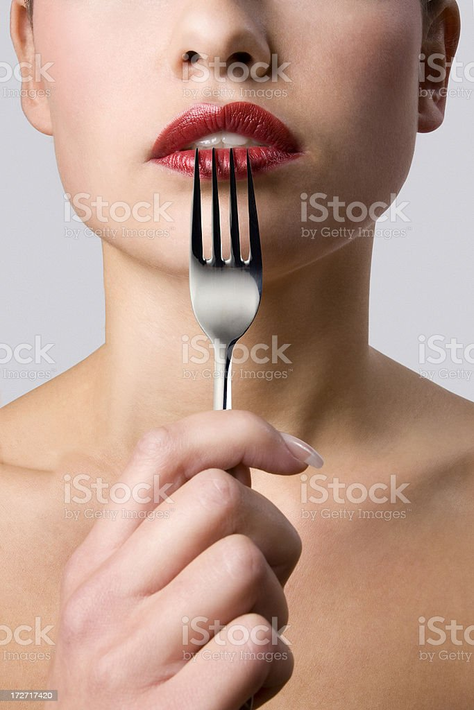 Fork and lips royalty-free stock photo