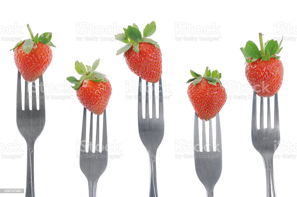 Fork and Strawberry stock photo