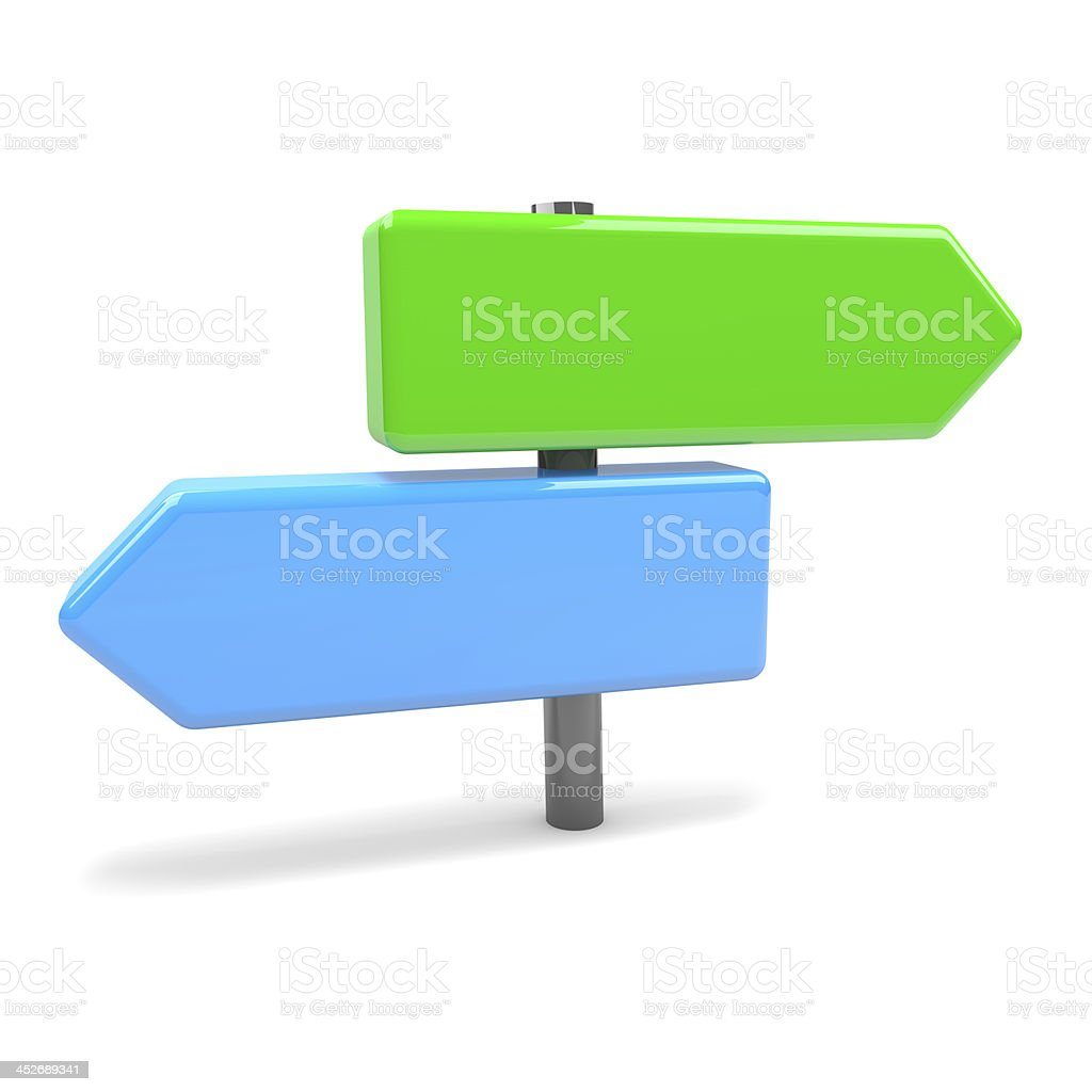 Fork Arrows Road Sign stock photo