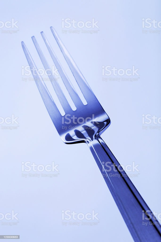 Fork Close Up with a Blue Tint stock photo