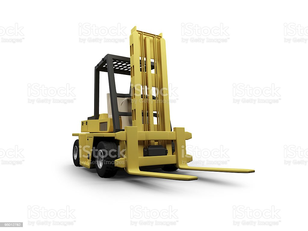 Fork heavy machine isolated view royalty-free stock photo
