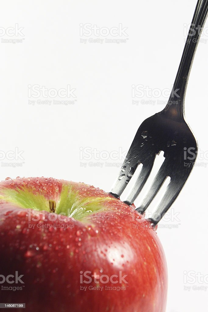 Forchetta di apple. foto stock royalty-free