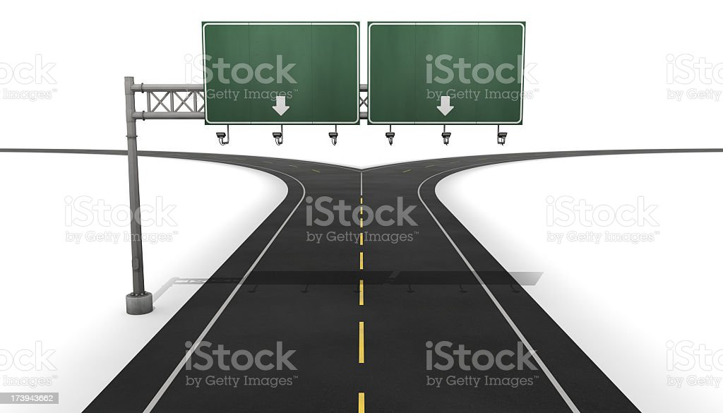 A fork in the road with blank sign with two arrows  stock photo