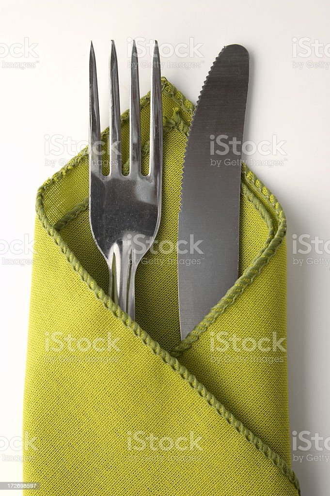 Fork, Knife and Napkin royalty-free stock photo