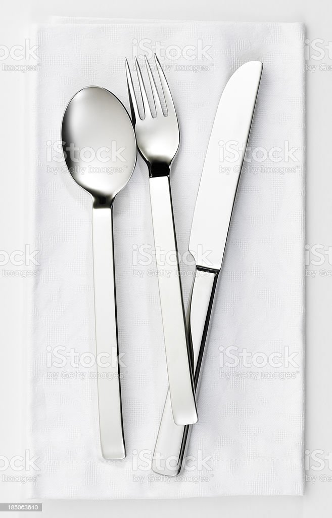 Fork, knife and spoon set stock photo